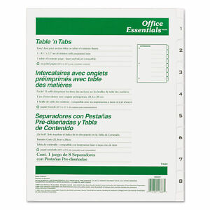 Avery Table n Tabs Dividers 8 tab Letter 11668