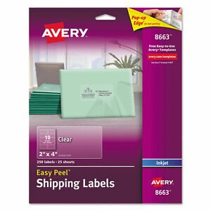 Avery Clear Easy Peel Shipping Labels Inkjet 2 X 4 250 pack 8663