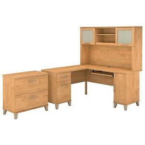 Bush Furniture Somerset 60w L Shaped Desk W hutch And Lateral File Cabinet Maple