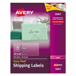 Avery Clear Easy Peel Shipping Labels Laser 2 X 4 500 box 5663