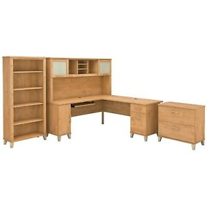 Bush Furniture 72w L Shaped Desk W hutch Lateral File Cabinet And Bookcase Maple
