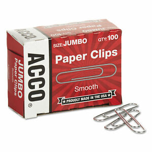 Acco Smooth Standard Paper Clip Jumbo Silver 100 box 10 Boxes pack 72580