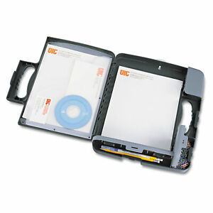 Officemate Portable Storage Clipboard Case 3 4 Capacity Holds 9w X 12h Charcoal
