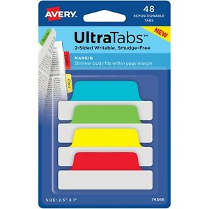 Avery Tabs Repositionable 2 sided 2 1 2 x1 48 pk Ast 74866