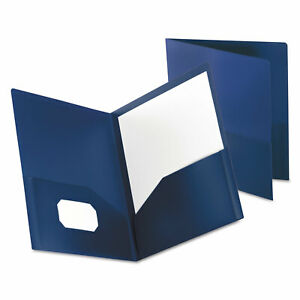 Oxford Poly Twin pocket Folder Holds 100 Sheets Opaque Dark Blue 57402