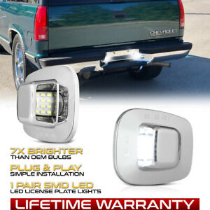 Chrome Led License Plate Lights Tag Lamps For Chevy S10 Tahoe Gmc Yukon Sonoma