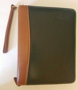 Franklin Quest Full Grain Green Brown Leather Medium Ring Binder Planner