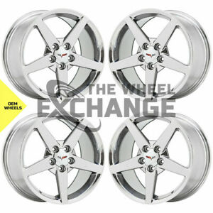 18x8 5 19x10 Corvette C6 Pvd Chrome Wheels Rims Factory Oem 5208 5210 Exchange