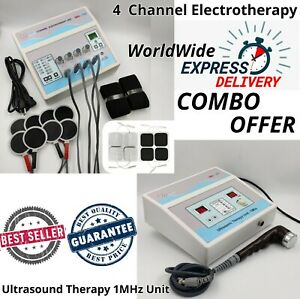 Combo Ultrasound Therapy 1mhz Machine Electrotherapy 4 Channel Pain Relief Unit
