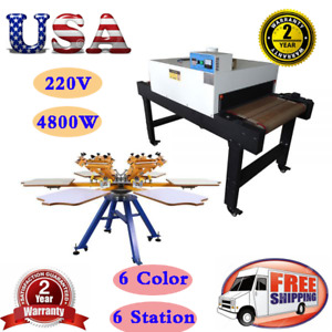 6 Color 6 Station Manual Screen Print Machine 220v 4800w Conveyor Tunnel Dryer