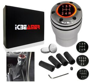 Jdm Aluminum Shift Knob With Red Led Sport Racing Manual Threaded Shifter V274