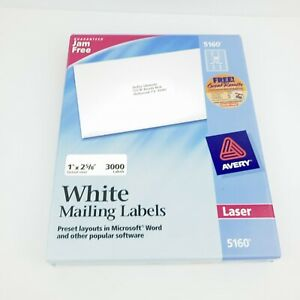 Avery 5160 White Address Labels 1x2 5 8 Length 3000 Labels Open Box