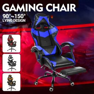 Gaming Chair Racing Ergonomic Recliner Office Computer Desk Chair Swivel Leather