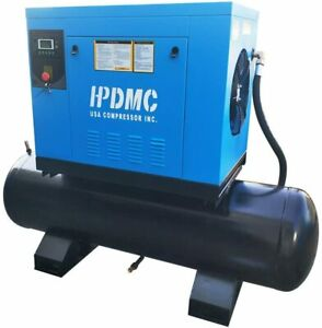 10 Hp Rotary Screw Air Compressor 150 Psi With 40 Gallon Air Tank 230v 3 phase