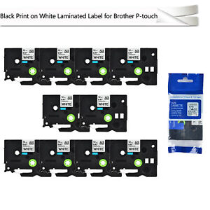 10pk Black On White Label Tape 12mm For Brother Tz 231 Tze 231 P touch 26 2ft