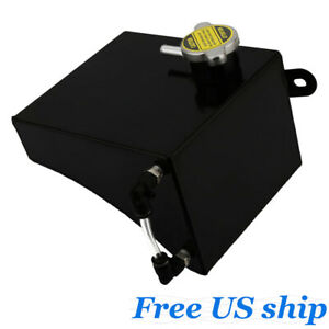 Black Aluminum Radiator Coolant Overflow Tank Can Expansion For Nissan 240sx S13
