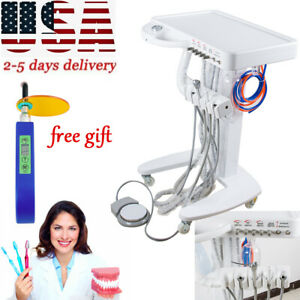 4 hole Dental Delivery Mobile Cart Unit Equipment No Compressor gift