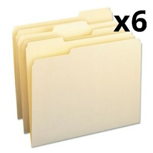 6 Pack Of Manila File Folders 1 3 cut Tabs Letter Size 24 pack