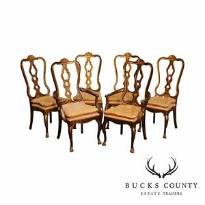 Hickory Manufacturing Co Vintage Faux Tortise Shell Painted Set 6 Dining Chairs