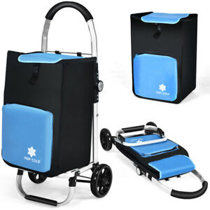 Folding Rolling Utility Trolley Dolly Shopping Grocery Cart W Removable Bag