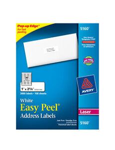 Avery 5160 Easy Peel Laser Address Labels 30 Labels Per Sheet 100 Sheets New