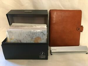 Filofax Organizer System Director Tan Leather Italy Binder Box Hole Punch