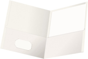 Oxford Twin pocket Folders Textured Paper Letter Size White Holds 100 Sheets