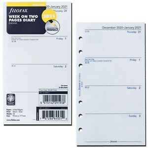 2021 Filofax Personal Size Refill 21 68421 Week On Two Pages 95mm X 171mm