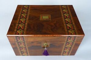 Large Antique Walnut Parquetry Brass Tulipwood Banded Jewellery Box