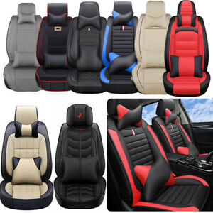 Luxury Car Seat Covers Top Pu Leather Suv 5 Sits Front Rear Full Set Universal