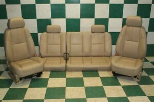 07 09 Sierra Extended Cab Tan Leather Dual Power Buckets Backseat Bench Seats