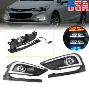 Daytime Running Light Drl Fog Lamp Turn Signal For Chevy Cruze 2016 2017 2018