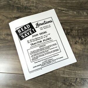 Operators Manual For John Deere 52 Two 51 One Bottom Plow Owners Parts Printed