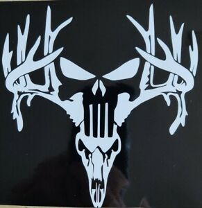 Punisher Deer Skull Vinyl Window Decal Sticker 6 To 28