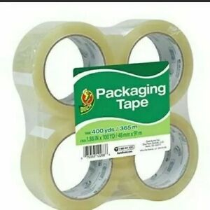 Duck Brand Standard Packaging Tape 1 88 Inches X 100 Yards Clear Pack Of 4