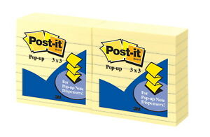 Post it Lined Pop up Notes 3 X 3 Inches Canary Yellow Pad Of 100 Sheets Pack