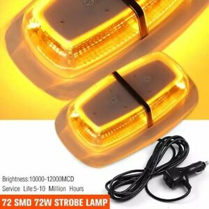 72 Led Amber Led Strobe Lights Emergency Flashing Warning Lights Magnetic Base