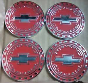 Chevrolet Reverse Gear Wire Wheel Emblems 4 Red Chrome Size 2 25 Zenith Look
