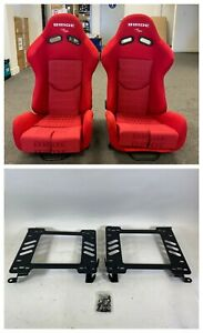 Pair Of Bride Gias V1 Red Gradation Cloth Low Max Reclining Seats For 240 Sx S13