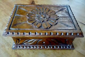 Large Hand Carved Wood Box With Hinged Lid Walnut Decorative Display Storage