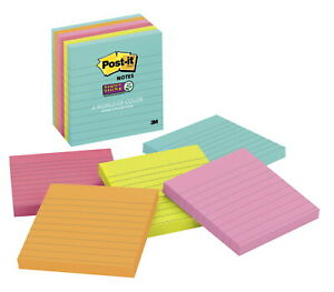 Post it Super Sticky Lined Notes 4 X 4 Inches Miami Colors 6 Pads With 90