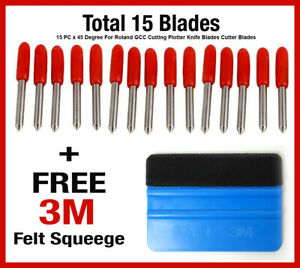 15 Pc 45 Degree Roland Gcc Cutting Plotter Knife Blades Blade Free 3m Squegee
