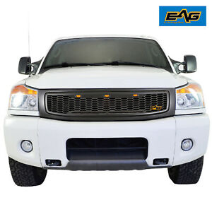 Eag Front Hood Upper Titan Grille Replacement Grill Led Fit 04 07 Nissan Titan