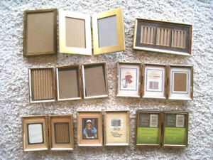 Lot Of 8 Vintage Small Gold Tone Brass Picture Frames W Glass Some Hinged