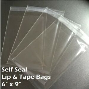 6 X 9 Clear Recloseable Self Seal Adhesive Lip Tape Plastic Cello Bags