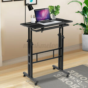 Mobile Sit Standing Computer Desk Pc Laptop Study Table Workstation Home Office