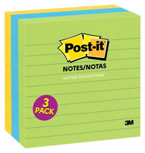 Post it Jaipur Collection Lined Notes 4 X 4 Inches 200 Sheets Per Pad Pack Of