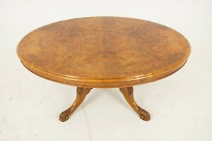 Antique Victorian Table Burr Walnut Oval Loo Coffee Table Scotland 1860 B2084