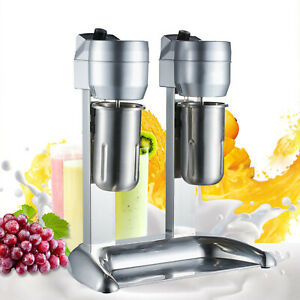 110v Commercial Stainless Steel Milk Shake Machine Double Head Drink Mixer Fast