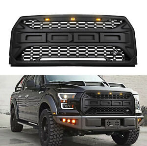 Front Grill Grille Hood For Ford F150 2015 2016 2017 Raptor Matte W Emblems Usa